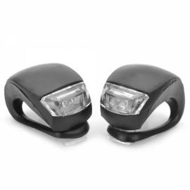 2pcs LED 3-Mode White & Red Light Bicycle Fog lights Black