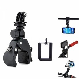 3-in-1 Large Quick Installation Bicycle Tripod Mount + Adapter + Clip Pack for Camera/Cell Phone/GoPro Hero 4/2/3/3 +/SJ4000 Black