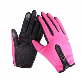 Unisex Winter Outdoor Sports Windproof Waterproof Ski Gloves Warm Riding Gloves Motorcycle Gloves Pink L