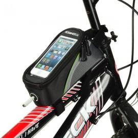 "ROSWHEEL Bike Bicycle 4.2"" Touch Screen Phone Bag with 3.5mm Earphone Jack Black & Green"