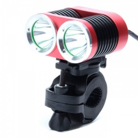 ZSJ360-B22 1800lm 4-Mode White Light 2-LED Bicycle Lamp Red & Black (4 x18650)