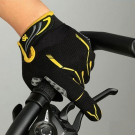 CoolChange MTB Outdoor Touch Screen Full Finger Unisex Cycling Gloves Black & Yellow XXL