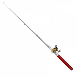 Mini Pocket Pen Shaped Aluminum Alloy Fishing Rod Pole with Fishing Reel 1m Red