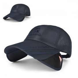 Outdoor Fishing Unisex Polyester Mesh Wide Brim Baseball Cap with Retractable Lens Navy