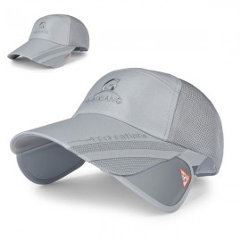 Outdoor Fishing Unisex Polyester Mesh Wide Brim Baseball Cap with Retractable Lens Gray