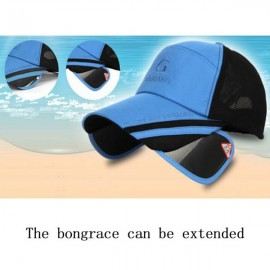 Outdoor Fishing Unisex Polyester Mesh Wide Brim Baseball Cap with Retractable Lens Blue