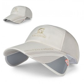 Outdoor Fishing Unisex Polyester Mesh Wide Brim Baseball Cap with Retractable Lens Beige