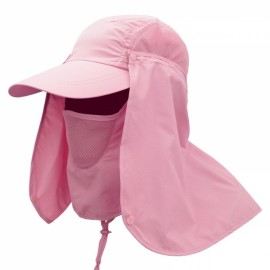 Quick Dry Neck Cover Sun Fishing Hat Ear Flap Bucket Outdoor Pink