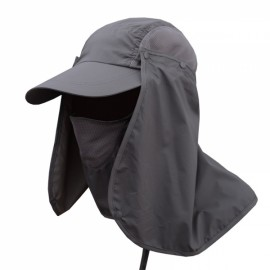 Quick Dry Neck Cover Sun Fishing Hat Ear Flap Bucket Outdoor Dark Gray