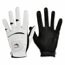 TOURLOGIC Men's Full Finger Goat Skin + PU Leather Golf Gloves White & Black