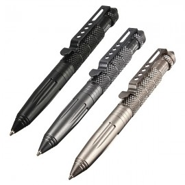 LAIX B2 Aluminum Alloy Self Defense Protection Tactical Pen Glass Breaker Silver Grey