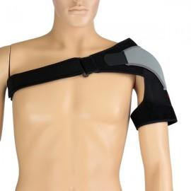 AOLIKES Single Shoulder Support Strap Wrap Brace Belt Gym Protector Left Shoulder Black & Gray