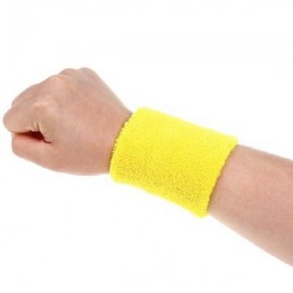 Aolikes Soft Breathable Sweat Absorbing Sports Wrist Support Band Lemon Yellow