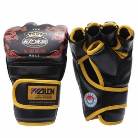 WOLON Grappling Boxing Punch Leather Training Gloves Random Color