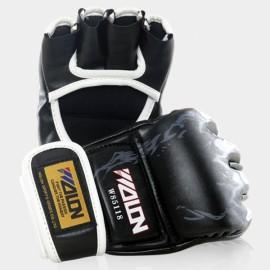 WOLON Thai Kick Boxing Gloves Tiger Paws Pattern Half-finger Fighting Boxing Gloves Black
