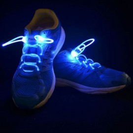 1 Pair LED Flashing Luminous Round Shoelaces Blue