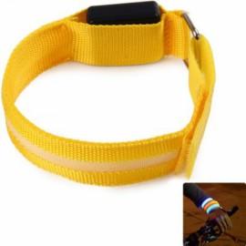 Unisex LED Safety Reflective Armband Flashing Belt Strap Wrist Armband Yellow