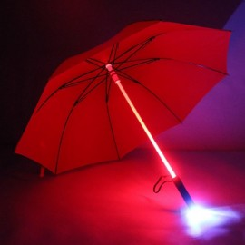 Fantastic LED Flashlight Night Protection Umbrella for Amusement Park Red