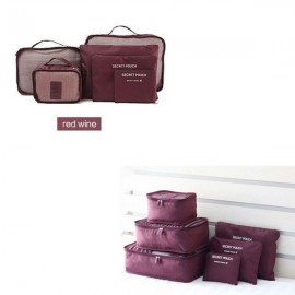 6pcs Waterproof Travel Storage Bags Packing Cube Clothes Pouch Luggage Organizer Wine Red
