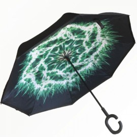 Creative C-Handle Reverse Colorful Umbrella Double Layers Upside Down Self-standing Car Rain Protection #18