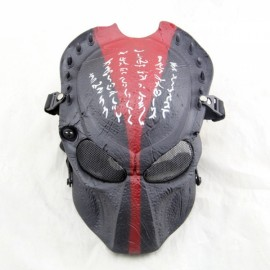 Full Face Wire Mesh Predator AVP Airsoft Protection Paintball Mask - Black with Red