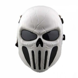 Airsoft Outdoor Cs War Game Full Face Mesh Mask - White