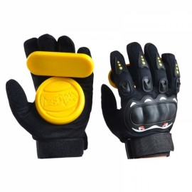 1 Pair Downhill Skateboard Gloves Roller Safety Gear Longboard Slide Gloves for Penny Long Board Yellow & Black