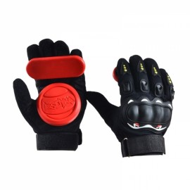 1 Pair Downhill Skateboard Gloves Roller Safety Gear Longboard Slide Gloves for Penny Long Board Red & Black