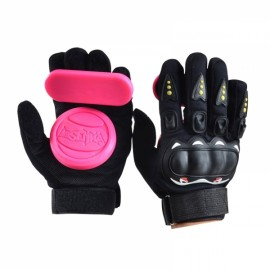 1 Pair Downhill Skateboard Gloves Roller Safety Gear Longboard Slide Gloves for Penny Long Board Pink & Black