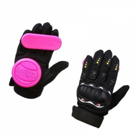 LOSENKA Long Board Slider Speed Brake Gloves Highway Skateboard Double Slide Block - Pink