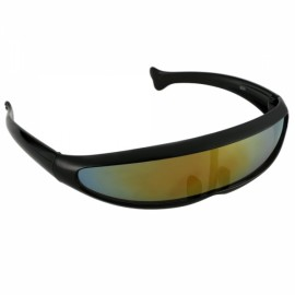 New Fashion Unisex X-Men Style Fish Shaped Laser Casual Sunglasses Black Frame Coloful Lens
