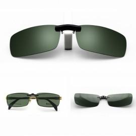 Polarized Clip On Sunglasses Driving Night Vision Lens Unisex Anti-UVA Anti-UVB Clip Dark Green M