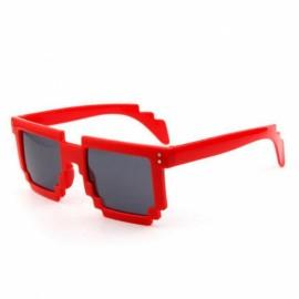 Mosaic Style Unisex UV400 Polarized Sunglasses Red Frame & Gray Lens