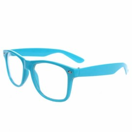 Retro Cool Unisex Clear Lens Nerd Geek Glasses Eyewear Sky Blue