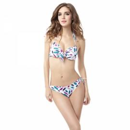 Small Fresh Leaves Mark Halter Women Two-piece Bikini Swimsuit Swimwear Suit XL
