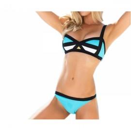Contrasting Geo Pattern Bikini Top & Bottom Swimsuit Two-piece Set XL Light Blue