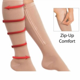 Zippered Compression Knee Socks Supports Stockings Leg Open Toe Zip Sox Nude Color S/M