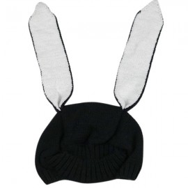 Winter Baby Animal Hat Long Rabbit Ears Knitted Hat Black