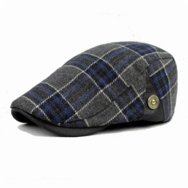 Fashionable Wool Blend Grid Pattern Thermal All-matching Newsboy Beret Cap Navy