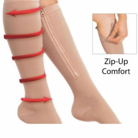 Zippered Compression Knee Socks Supports Stockings Leg Open Toe Zip Sox Nude Color L/XL