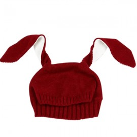 Winter Baby Animal Hat Long Rabbit Ears Knitted Hat Red