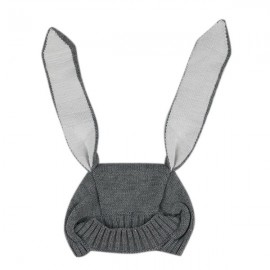 Winter Baby Animal Hat Long Rabbit Ears Knitted Hat Gray