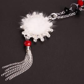 White Super Cute Villus and Rhinestone Pendant Sweater Chain Long Necklace
