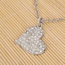 Silver Elegant Multi-Rhinestone Heart Necklace