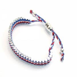 Elegant Adjustable Alloy Bracelet Blue White and Red