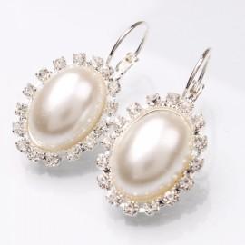 Large Oval Shaped Pearl Rhinestone Dangle Earrings