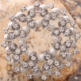 Stylish Rhinestone Crystal Fabricate Pearl Bead Pin Brooch