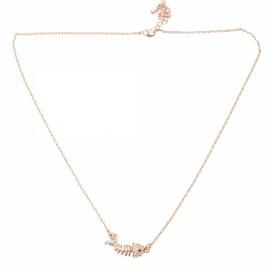 New Shiny Fish Bones Shape Gilded Necklace with Rhinestone for Women