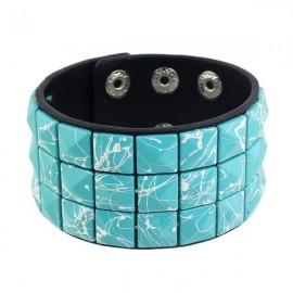 BR-5274 Punk Style PU Leather Adjustable Wide Wrap Bracelet Blue