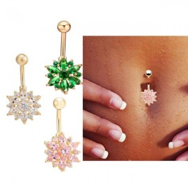 Crystal Rhinestone Belly Button Ring Dangle Navel Body Jewelry Piercing Tool Pink